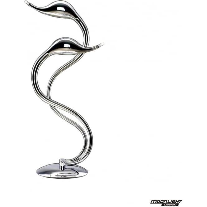 Illuminati Swan 2 Light Table Lamp Chrome Dimmable