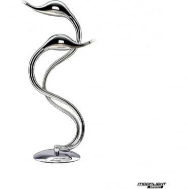 Swan 2 Light Table Lamp Chrome Dimmable