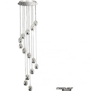 Terrene 14 Light Spiral Pendant Chrome Dimmable
