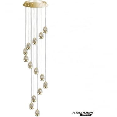 Terrene 14 Light Spiral Pendant Gold Dimmable