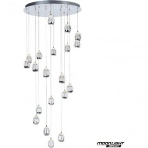 Terrene 20 Light Spiral Pendant Chrome 4 Meter Drop Dimmable