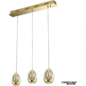 Terrene 3 Light Bar Pendant Gold Dimmable
