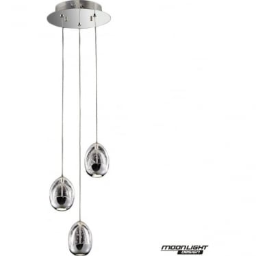 Terrene 3 Light Spiral Pendant Chrome Dimmable