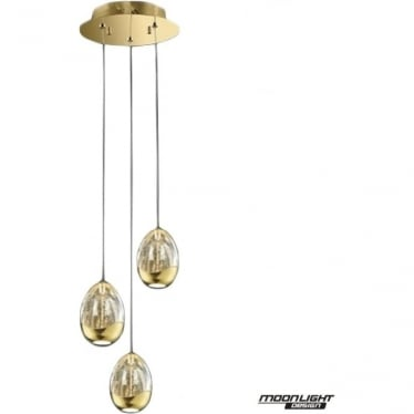 Terrene 3 Light Spiral Pendant Gold Dimmable