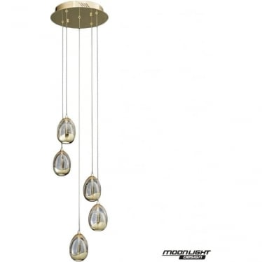 Terrene 5 Light Spiral Pendant Gold Dimmable