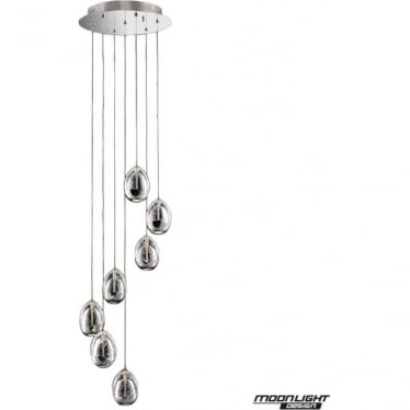Terrene 7 Light Spiral Pendant Chrome Dimmable