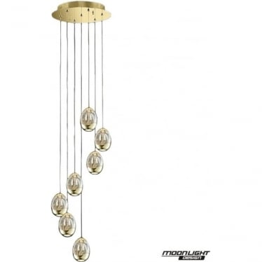 Terrene 7 Light Spiral Pendant Gold Dimmable