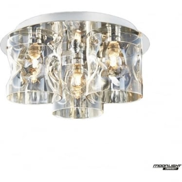 Venus 3 Light flush Fitting Champagne Dimmable