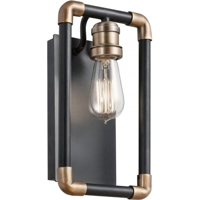 Kichler Imahn Single Wall Light Black and Natural Brass