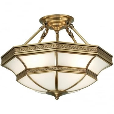 Balfour 4 light semi flush fitting - Antique brass & frosted glass
