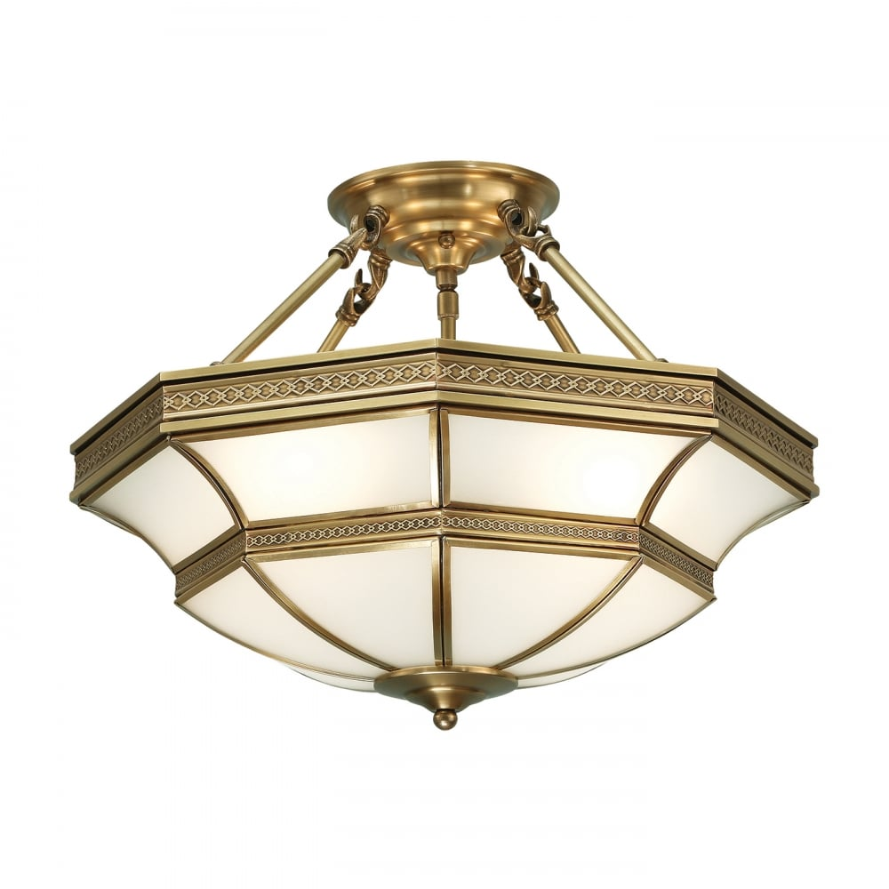 Frosted Glass Antique Brass Finish Indoor Ceiling Pendant