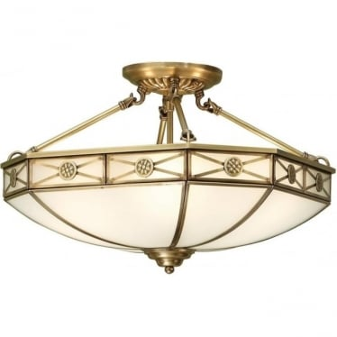 Bannerman 4 light semi flush fitting - Antique brass & frosted glass