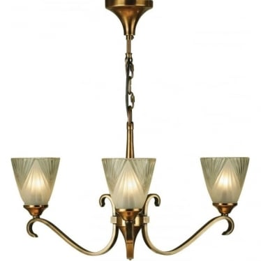 Columbia 3 light pendant - Antique brass & deco glass