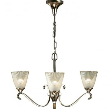 Columbia 3 light pendant - Polished nickel & deco glass