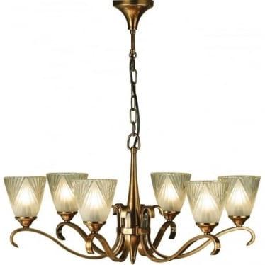 Columbia 6 light pendant - Antique brass & deco glass