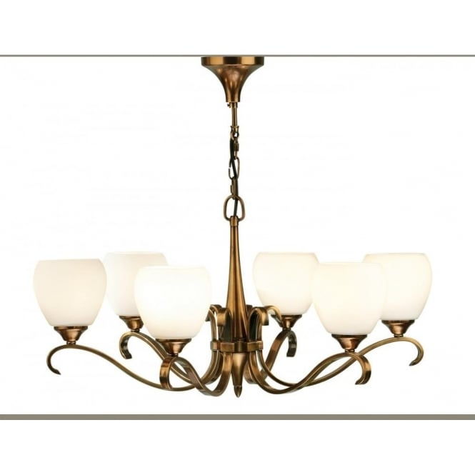 Interiors 1900 Columbia 6 light pendant - Antique brass & opal glass