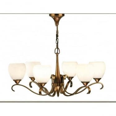 Columbia 6 light pendant - Antique brass & opal glass