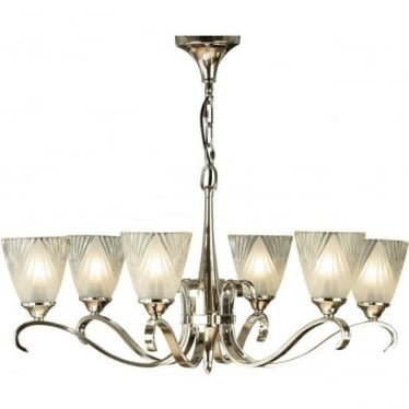 Columbia 6 light pendant - Polished nickel & deco glass