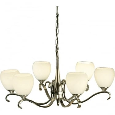 Columbia 6 light pendant - Polished nickel & opal glass