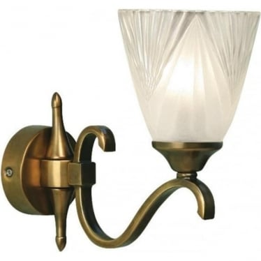 Columbia single wall light fitting - Antique brass & deco glass
