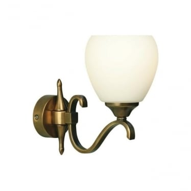 Columbia single wall light fitting - Antique brass & opal glass