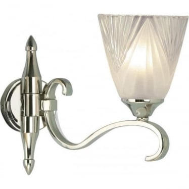 Columbia single wall light fitting - Polished nickel & deco glass