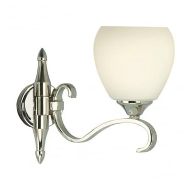 Columbia single wall light fitting - Polished nickel & opal glass