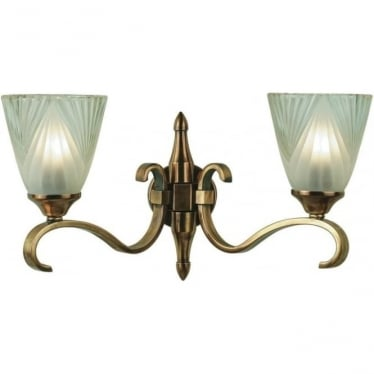 Columbia twin wall light - Antique brass & deco glass