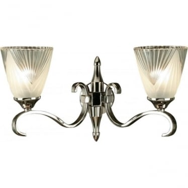 Columbia twin wall light - Polished nickel & deco glass