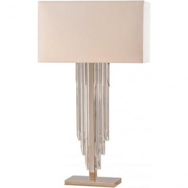Crystal cascade table lamp - Clear crystal glass & off white faux silk