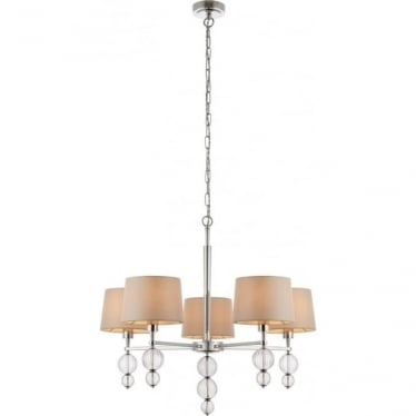 Darlaston 5 light pendant - Polished nickel & marble silk