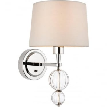 Darlaston single wall light fitting - Polished nickel & marble silk