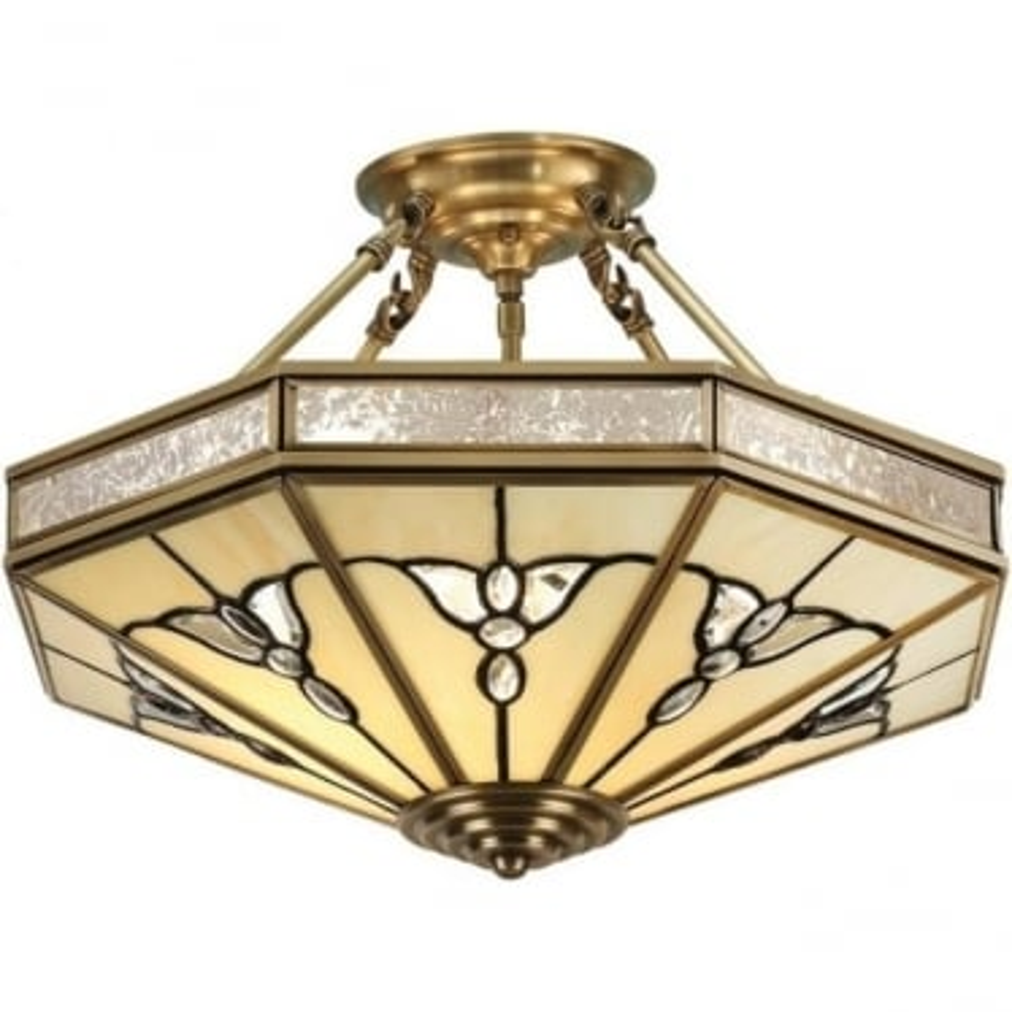 Gladstone 4 light semi flush fitting - Tiffany glass & antique brass