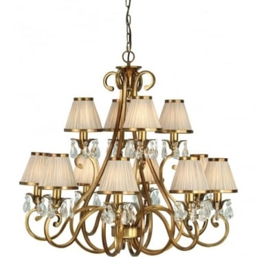 Oksana 12 light pendant - Antique brass & beige shades