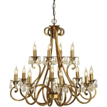 Oksana 12 light pendant - Antique brass