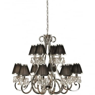 Oksana 12 light pendant - Nickel & black shades