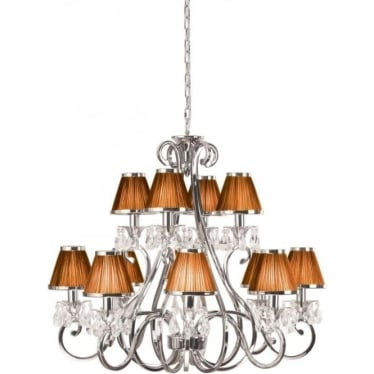 Oksana 12 light pendant - Nickel & Chocolate shades