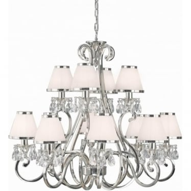 Oksana 12 light pendant - Nickel & white shades