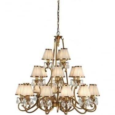 Oksana 21 light pendant - Antique brass & beige shades