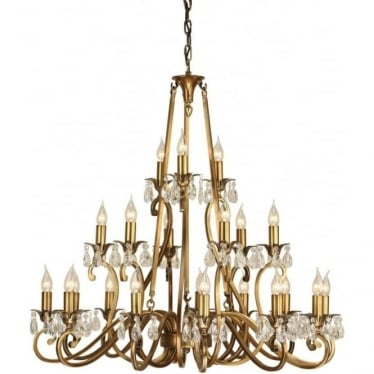 Oksana 21 light pendant - Antique brass