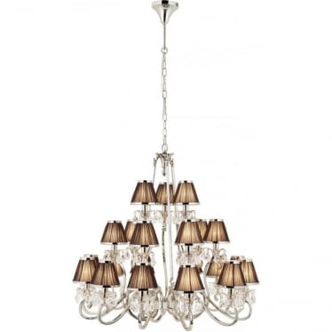 Oksana 21 light pendant - Nickel & black shades