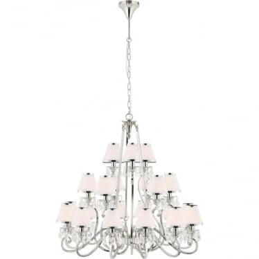 Oksana 21 light pendant - Nickel & white shades