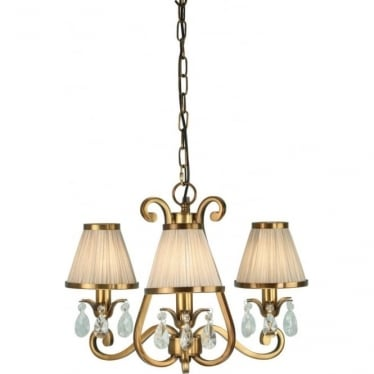 Oksana 3 light pendant - Antique brass & beige shades