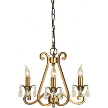Oksana 3 light pendant - Antique brass