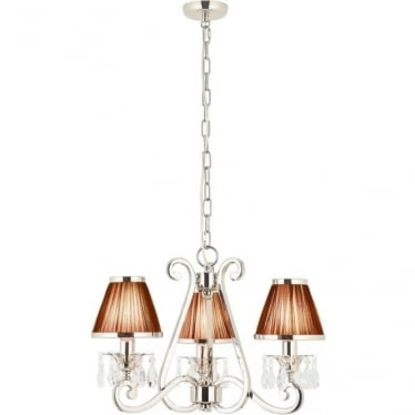 Oksana 3 light pendant - Nickel & black shades