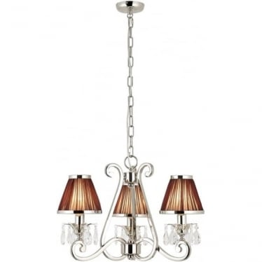 Oksana 3 light pendant - Nickel & chocolate shades