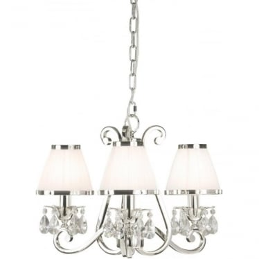 Oksana 3 light pendant - Nickel & white shades