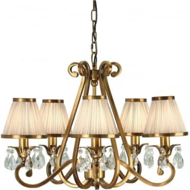 Oksana 5 light pendant - Antique brass & beige shades