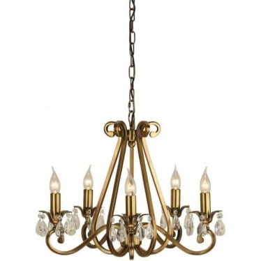 Oksana 5 light pendant - Antique brass