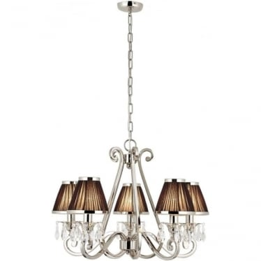 Oksana 5 light pendant - Nickel & black shades